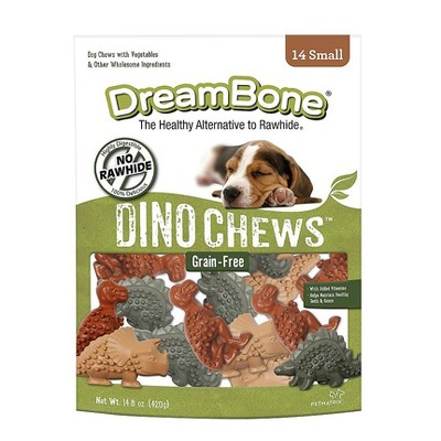 DreamBone Rawhide Free Dino Chews Grain Free Chicken and Vegetable Dental Dog Treats 14ct