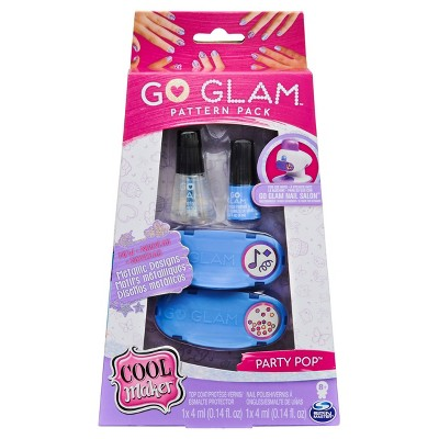 Cool Maker, GO GLAM Party Pop Pattern Pack Refill with 2 Metallic Designs for Use with GO GLAM Nail Salon