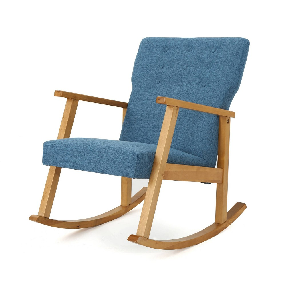 Harvey Mid Century Modern Fabric Rocking Chair Muted Blue Christopher Knight Home