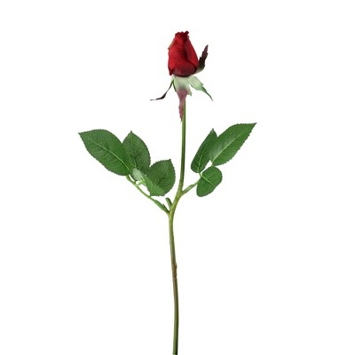 """Allstate Floral 18"""" Red Single Rose Bud with Thornless Stem Artificial Floral Spring Craft Pick"""
