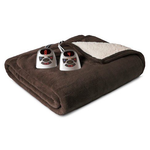 Microplush with Sherpa Electric Blanket Brown (King) - Biddeford - image 1 of 1