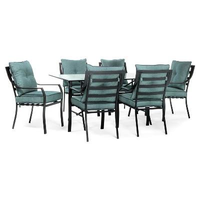 Lavallette 7pc Rectangle Metal Patio Dining Set   Ocean Blue   Hanover
