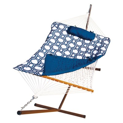 12' Cotton Rope Hammock, Stand, Pad and Pillow Combination - Blue - Algoma