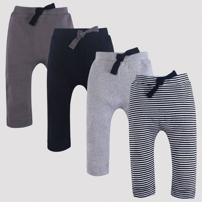 Touched by Nature Baby 4pk Harem Organic Cotton Pull-On Pants - Black/Gray 3M
