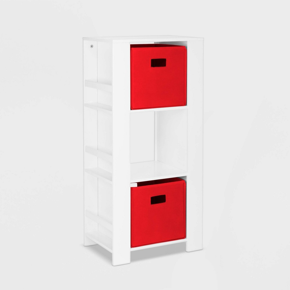 Image of 2pc Bin Book Nook Kids Cubby Storage Tower with Bookshelves Red - RiverRidge