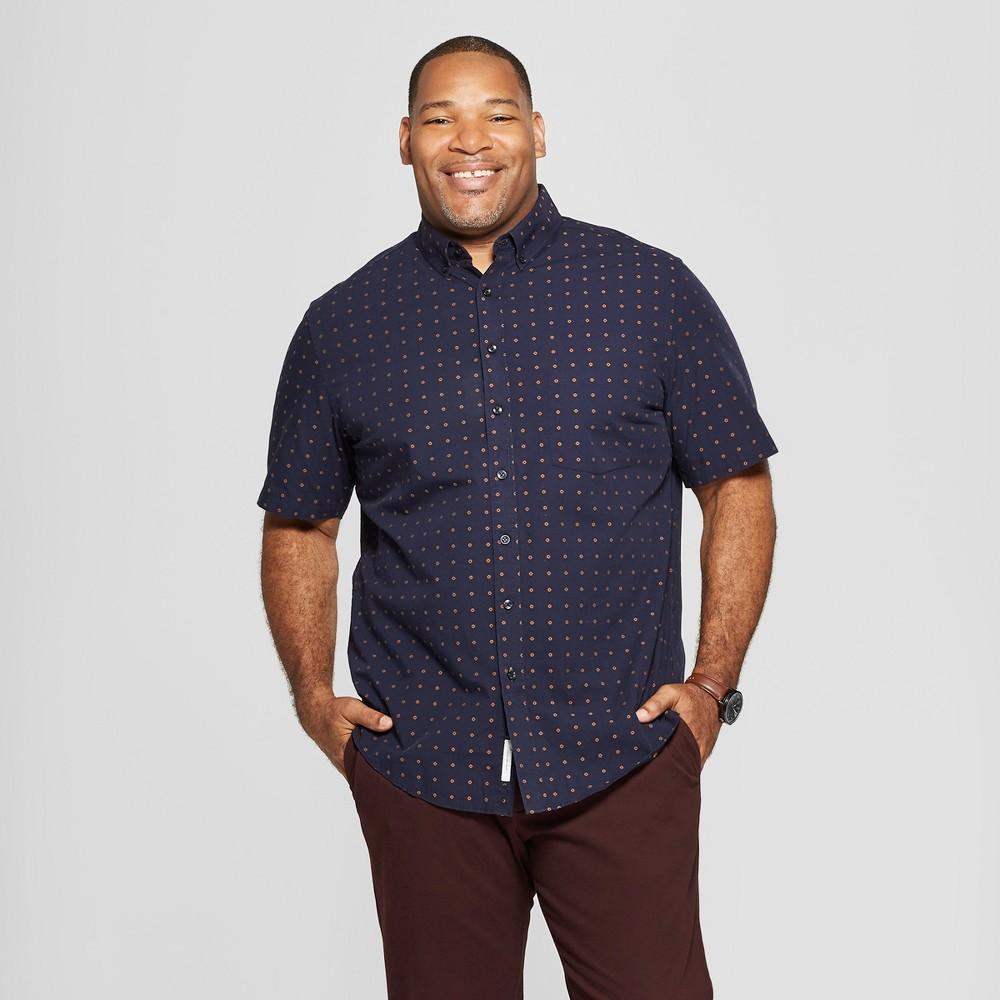 Men's Big & Tall Diamond Print Standard Fit Short Sleeve Button-Down Shirt - Goodfellow & Co Stargaze Navy 2XBT
