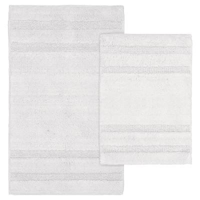 Garland 2 Piece Majesty Cotton Washable Bath Rug Set - White