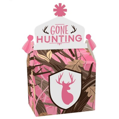 Big Dot of Happiness Pink Gone Hunting - Treat Box Party Favors - Deer Hunting Girl Camo Baby Shower or Birthday Party Goodie Gable Boxes - Set of 12