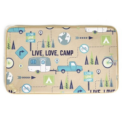 Lakeside Live Love Camp Bathroom Shower Rug with Memory Foam Material