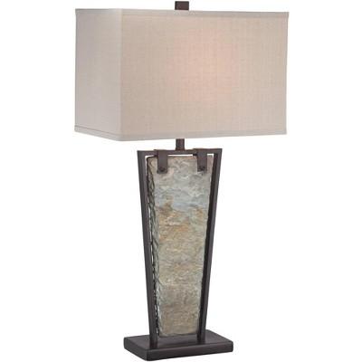 Franklin Iron Works Modern Table Lamp Tapered Natural Slate Bronze Metal Rectangular Shade for Living Room Family Bedroom Bedside