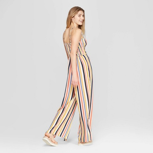 1c1d1ae9e379 Women s Striped V-Neck Strappy Front Tie Jumpsuit - Xhilaration™ Gold Navy