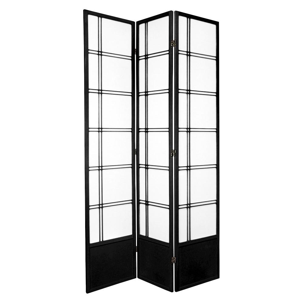 7 ft. Tall Double Cross Shoji Screen - Black (3 Panels)