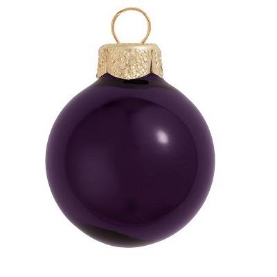 "Northlight 40ct Shiny Glass Ball Christmas Ornament Set 1.5"" - Purple"