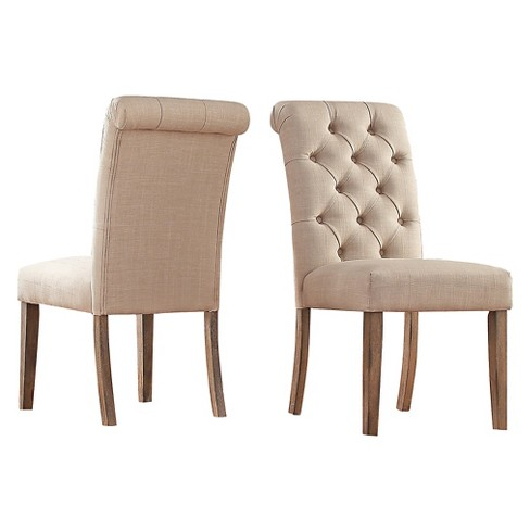 Gramercy On Tufted Dining Chair Wood Oatmeal Set Of 2 Inspire Q Target