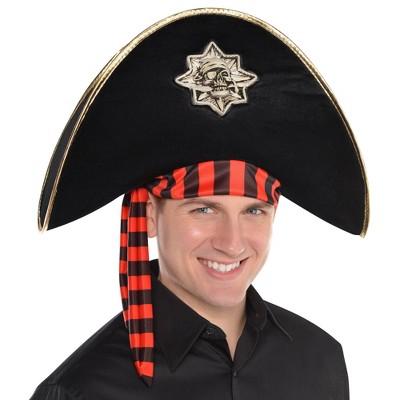 Adult Skull and Bones Pirate Hat Halloween Costume Headwear