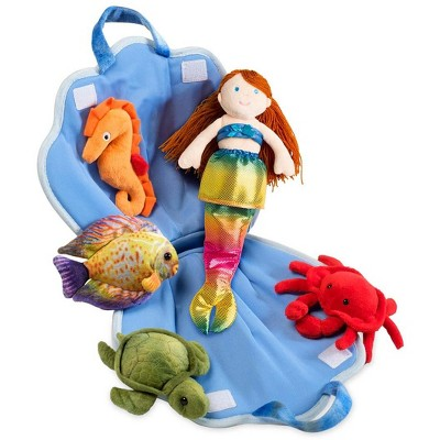 Magic Cabin - Plush Mermaid & Friends Traveling Play Set for Kids Imaginative Play