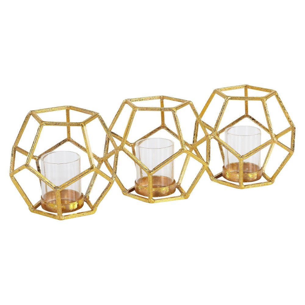 "Image of ""15"""" x 4.5"""" Sparkling Polyhedron Triple Candle Holder Gold - Danya B"""