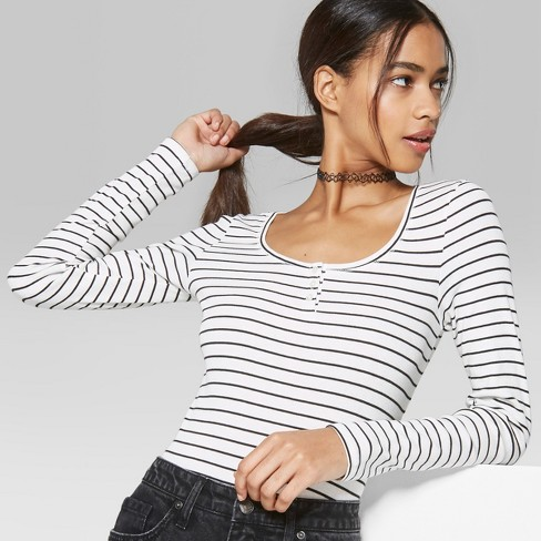 92322d29bef Women s Long Sleeve Henley Button Scoop Neck T-Shirt - Wild Fable™ White  Black