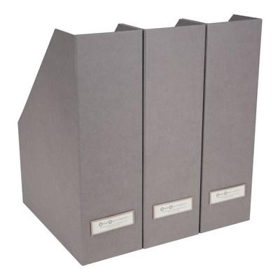 Set of 3 Viktoria Magazine File Gray - Bigso Box of Sweden