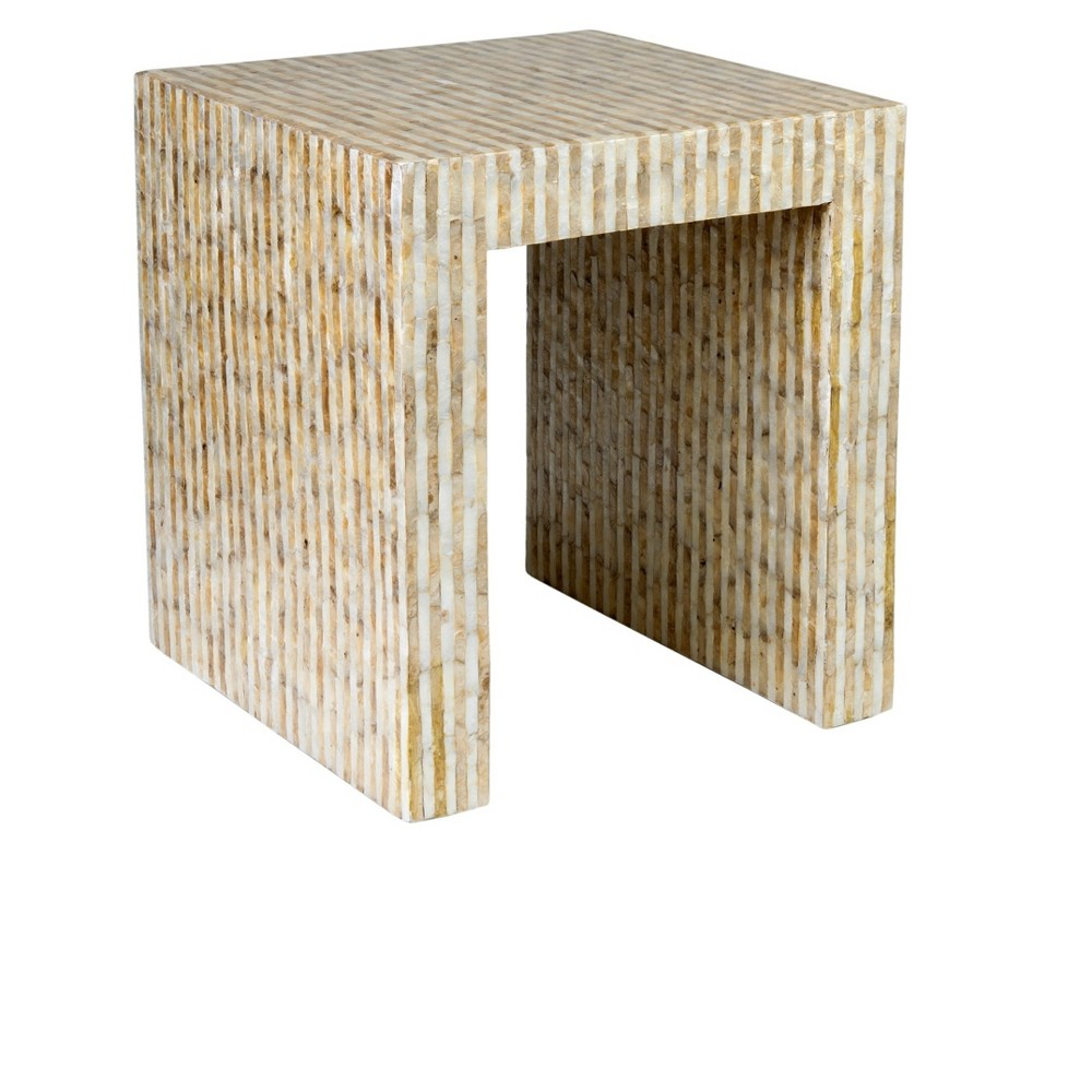 Uptown Side Table Accented With Capiz Shells - White and Gold - Jeffan, White/Gold