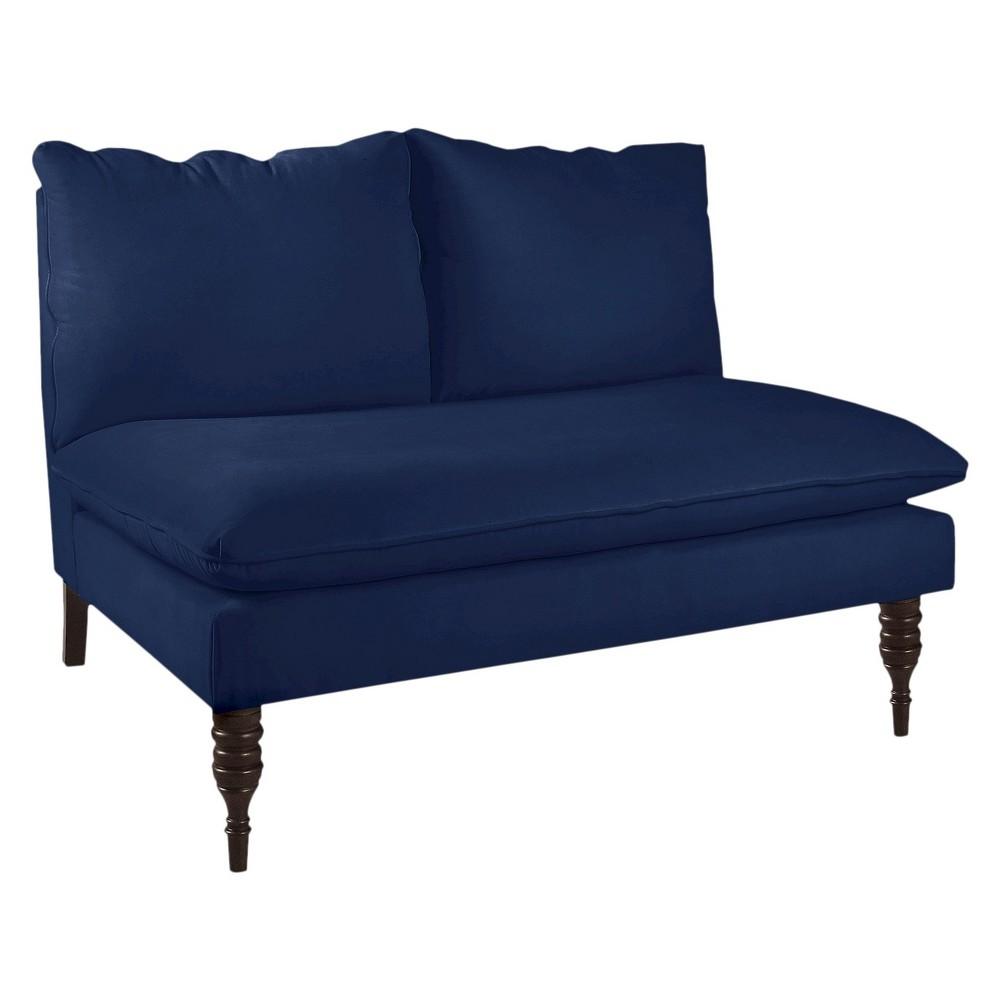 Skyline Custom Upholstered Armless Loveseat - Skyline Furniture, Velvet Navy