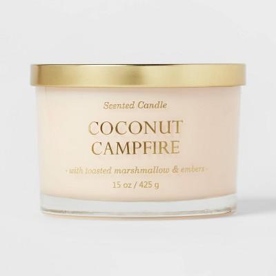 15oz Lidded Glass Jar Solid Cream 3-Wick Coconut Campfire Candle - Opalhouse™