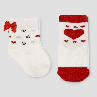 Baby Girls' 2pk Valentines Day Socks - Just One You® made by carter's White/Red 0-6M