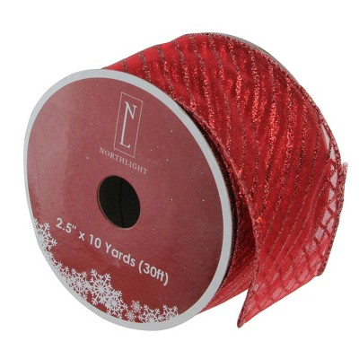 """Northlight Club Pack of 12 Glittered Red Wired Christmas Craft Ribbons - 2.5"""" x 10 Yards"""