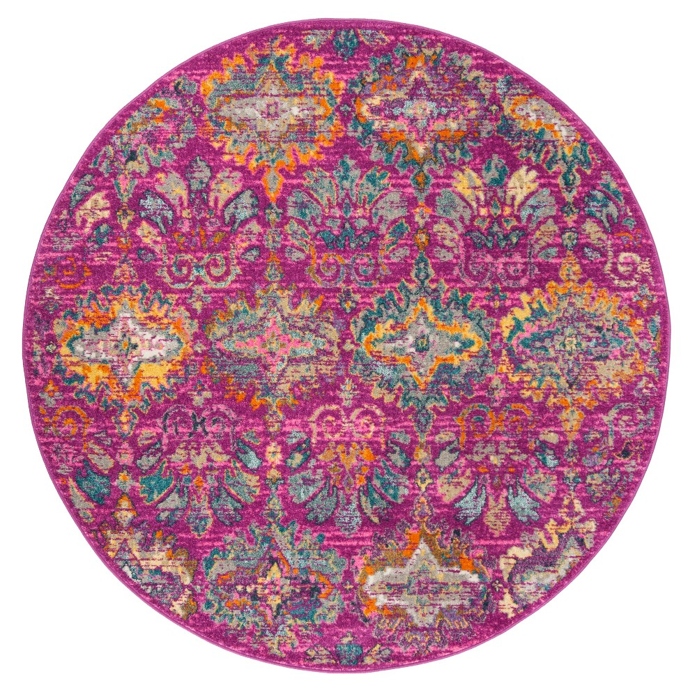 Fuchsia/Blue (Pink/Blue) Damask Loomed Round Area Rug 6'7 - Safavieh