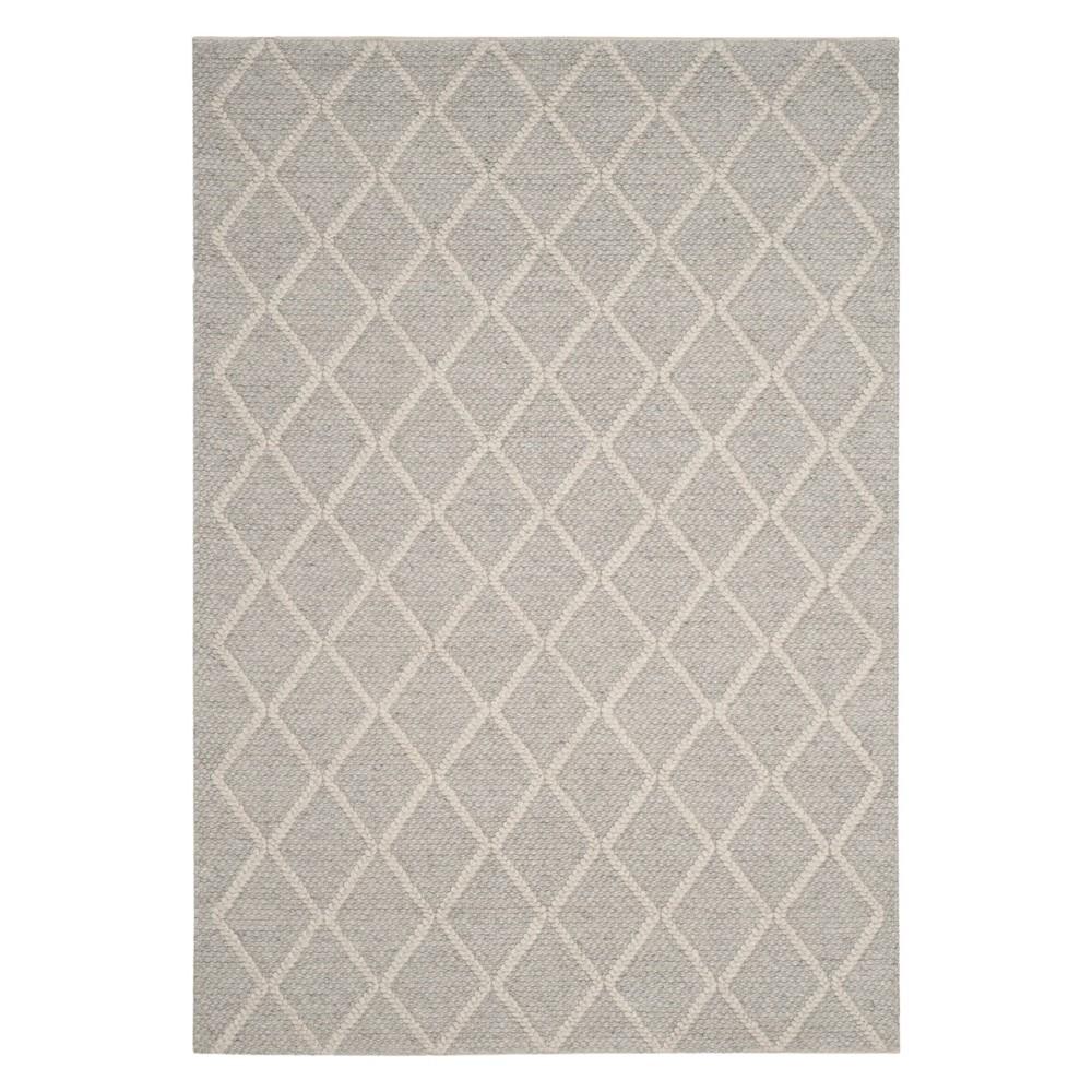6'X9' Diamond Woven Area Rug Silver/Ivory - Safavieh