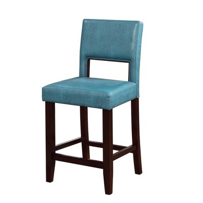 Wooden Counter Height Barstool with Padded Seat and Open Backrest Blue/Brown - Benzara