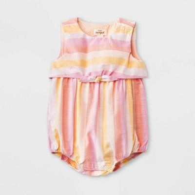 Baby Girls' Striped Poplin Elevated Romper - Cat & Jack™ Light Pink Newborn