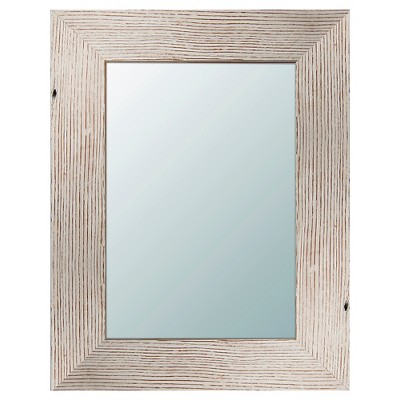 Rectangle Reclaimed Wood Decorative Wall Mirror White - PTM Images