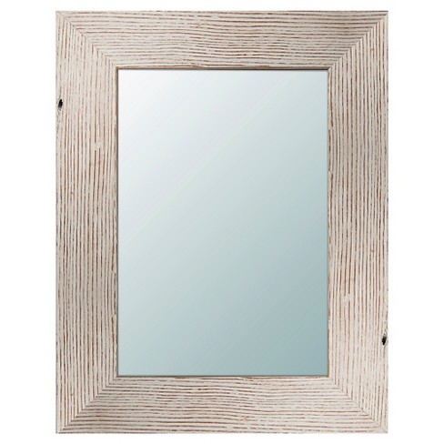 Rectangle Reclaimed Wood Decorative Wall Mirror White - PTM Images - image 1 of 1
