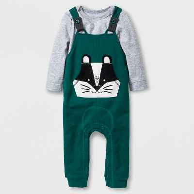 Baby Boys' 2pc Long Sleeve Bodysuit and Overalls with Kangaroo Pocket Set - Cat & Jack™ Gray/Green 0-3M
