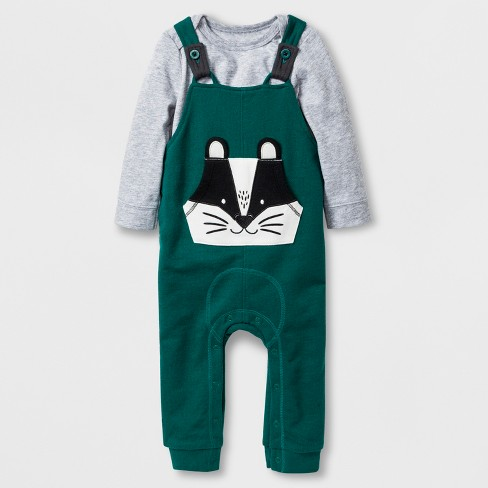ca71926ac Baby Boys' 2pc Long Sleeve Bodysuit and Overalls with Kangaroo Pocket Set -  Cat & Jack™ Gray/Green