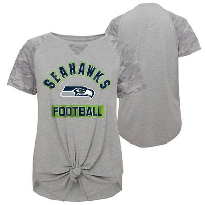 NFL Seattle Seahawks Women's Short Sleeve Front Knot T-Shirt