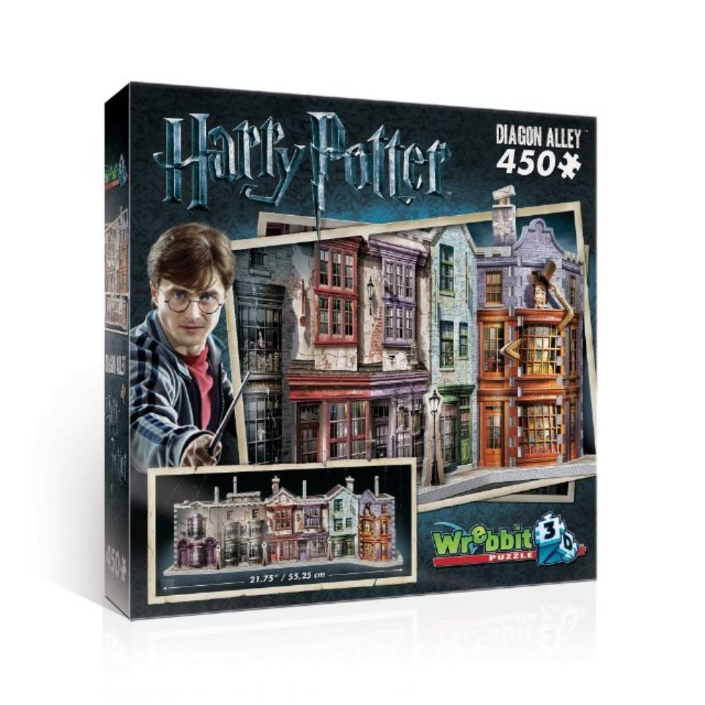Wrebbit Diagon Alley 3D Puzzle 450pc Going through a brick wall or using Floo Powder to access Diagon Alley isn't necessary anymore. This 450-piece 3D puzzle gives muggles full access to a hidden side of London. Discover a unique range of mythical shops where young wizards find their school supplies and more. Whether it's for a wand at Ollivanders, books at Flourish and Blotts or simply for fun at Weasleys' Wizard Wheezes, you're sure to find what you're looking for! Assembled puzzle dimensions 21.75 inches x 7.75 inches x 8.5 inches. Wrebbit 3D puzzles have snug and tight fitting foam back pieces that are easy to handle. They are the sturdiest 3D puzzles on the market. Highest quality of design and illustration. Made in Canada. Age - 10 and up. Warning: Choking Hazard -- Small parts. Not for children under 3 yrs. Gender: Unisex.