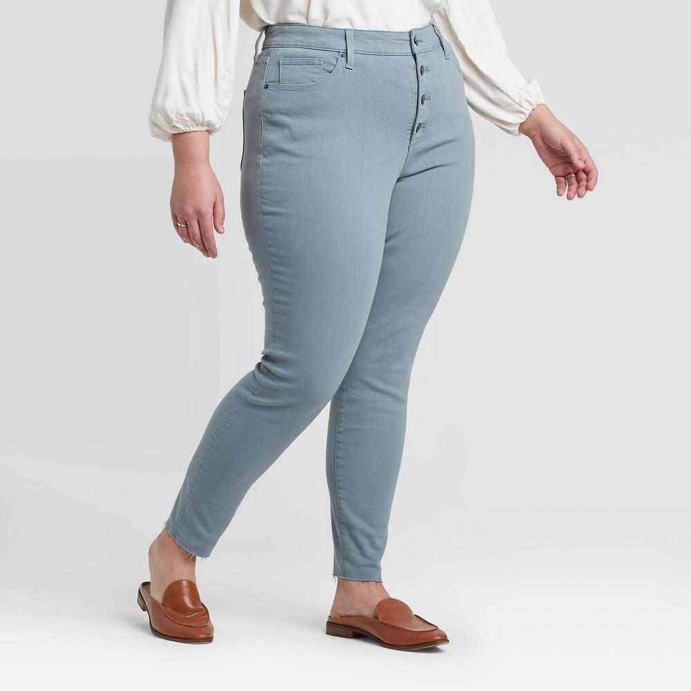 Women's Plus Size High-Rise Raw Hem Skinny Jeans - Universal Thread Green 20W, Women's, Blue was $29.99 now $20.99 (30.0% off)