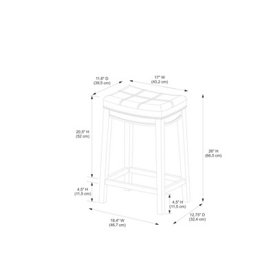 "24"" Claridge Leather Saddle Counter Height Barstool - Linon : Target"