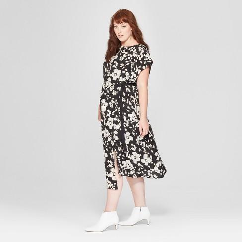 8ca5c01a530 Women s Plus Size Floral Print Short Sleeve Pleated Wrap Dress - Prologue™  Black White   Target