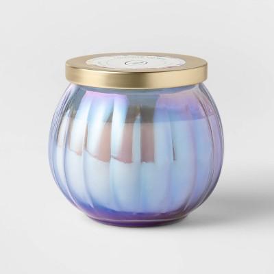 14oz Lidded Blue Depression Glass Jar Lavender Shores Candle - Opalhouse™