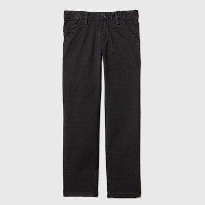 Girls' Flat Front Stretch Uniform Straight Fit Chino Pants - Cat & Jack™ Black