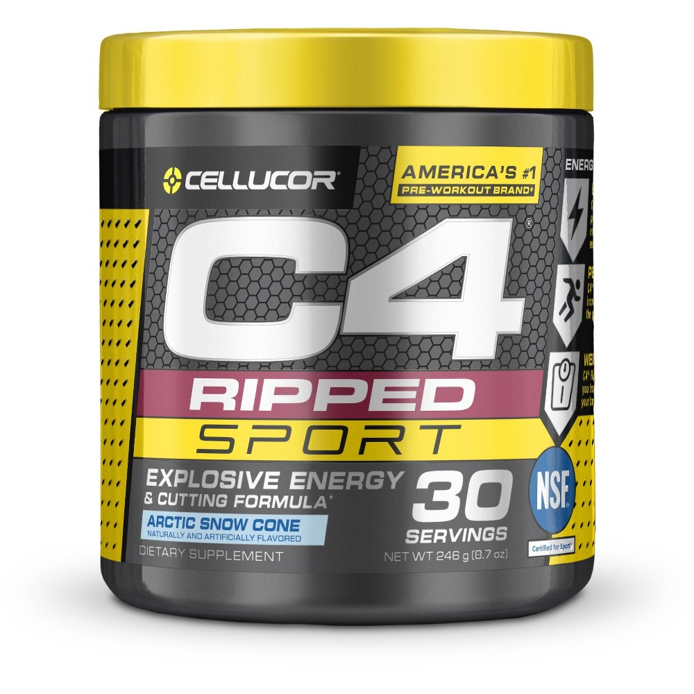 Cellucor C4 Ripped Pre-Workout Energy Powder - Arctic Snow Cone - 8.7oz C4 Ripped Sport combines the powerful energy of C4 Sport with a revolutionary fat-loss formula, resulting in a best-in-class pre-workout that can help give you what you need to perform your bestwhether its on the field, on the track, or in the gym. Gender: Male. Age Group: Adult.