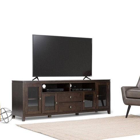 Essex Solid Wood 72 Inch Wide Tv Media Stand Coffee Brown For Tvs Up