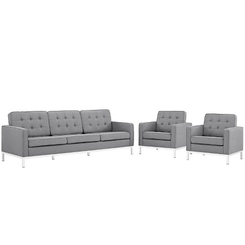Set of 3 Sofa, Accent Chair Loft Living Room Set Upholstered Fabric Light Gray - Modway - image 1 of 4