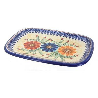 Blue Rose Polish Pottery Autumn Burst Medium Rectangular Serving Platter