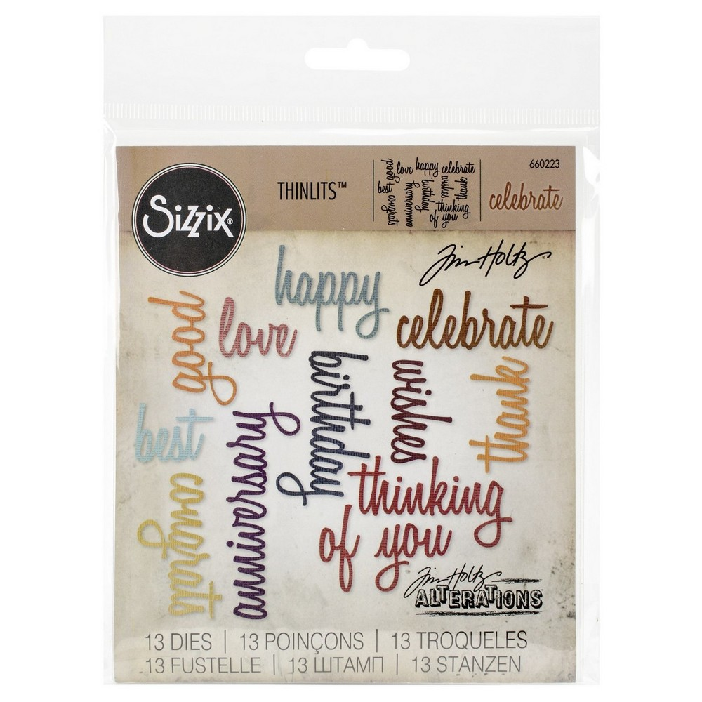 Image of Sizzix Thinlits Dies By Tim Holtz Celebration Script Words-Silver Asst Sizes, Gray