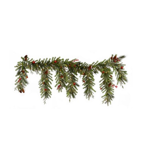 """Vickerman 6.5' x 35"""" Prelit Red Berry and Ball Ornament Mixed Pine Artificial Christmas Garland - Clear Lights - image 1 of 1"""