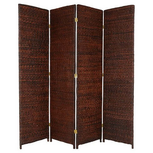6 ft. Tall Rush Grass Woven Room Divider - Dark Brown (4 Panels) - image 1 of 1